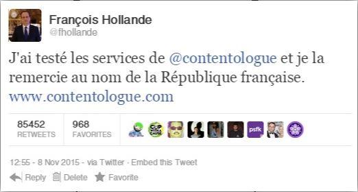 tweet de françois hollande